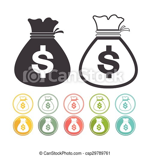 Money bag sign icon Dollar currency Vector black Yellow pink green blue red - csp29789761