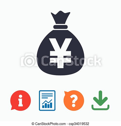 Money Bag Sign Icon Yen Jpy Currency Money Bag Sign Icon Yen Jpy