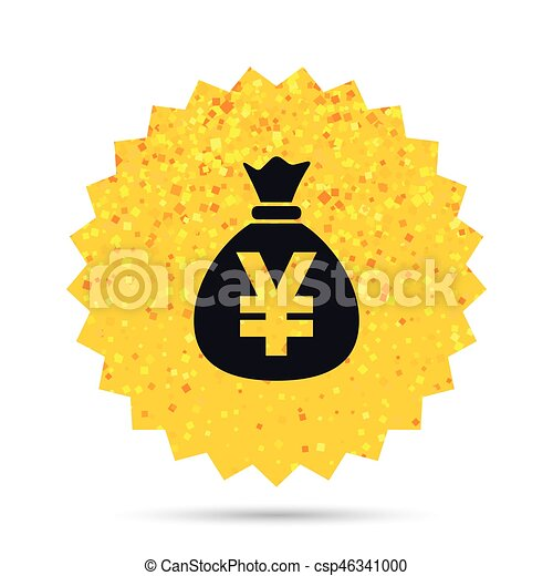 Money Bag Sign Icon Yen Jpy Currency Gold Glitter Web Button
