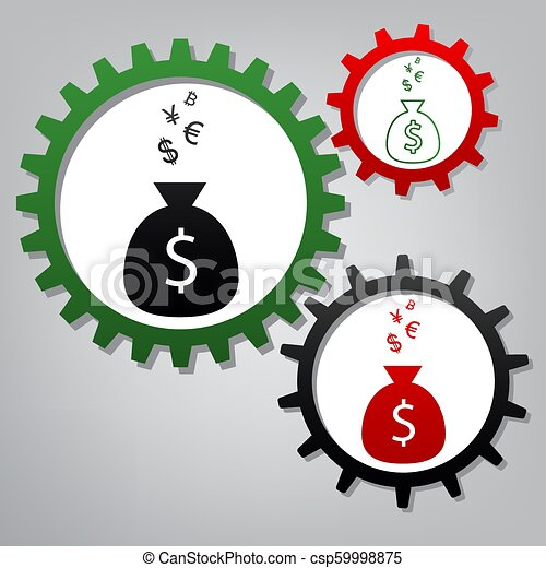 Money Bag Sign With Currency Symbols Vector Three Connected Gears
