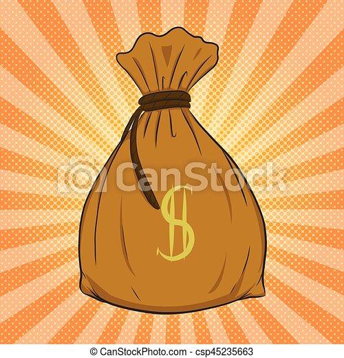Money bag vector on halftone background. - csp45235663