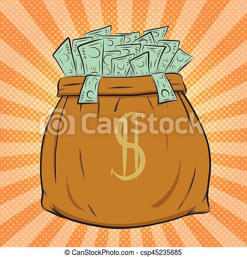 Money bag vector on halftone background. - csp45235685