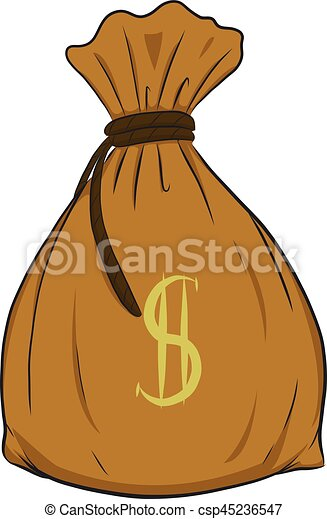 Money bag vector on white background. - csp45236547