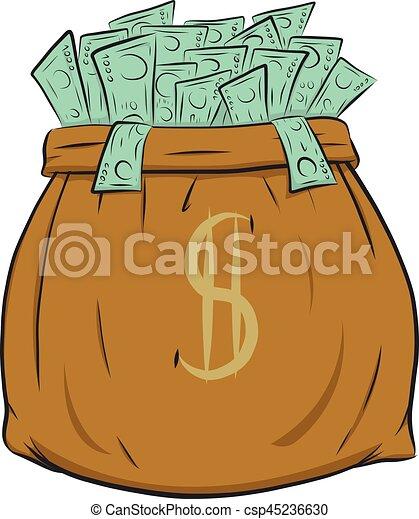 Money bag vector on white background. - csp45236630