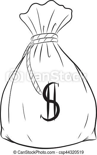 Money bag vector on white background. - csp44320519
