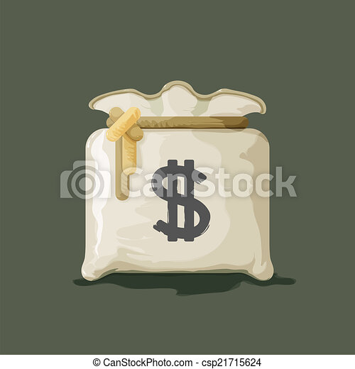Money bag with dollar sign vector illustration - csp21715624