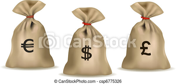 Money bag with dollars  - csp6775326
