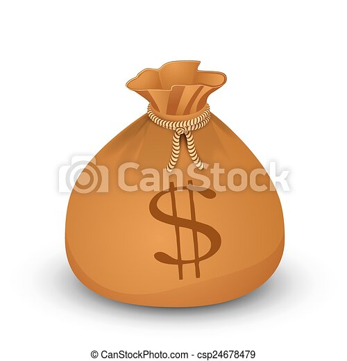 Money bag with dollars. - csp24678479