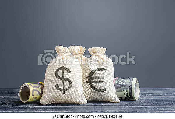 Money bags and world currencies. Capital investment, savings. Economics, lending business. Profit income, dividends payouts. Crowdfunding startups investing. Banking service, budget monetary policy - csp76198189