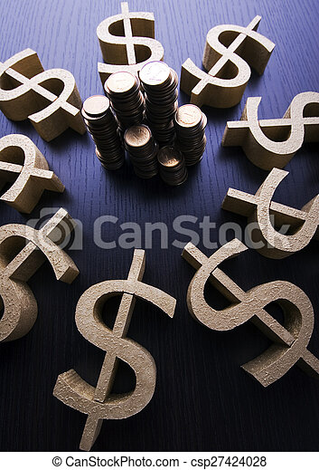 Money, bright financial saturated concept - csp27424028