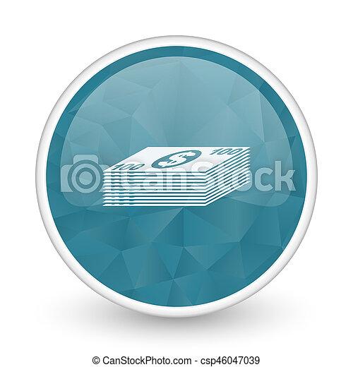 Money brillant crystal design round blue web icon. - csp46047039