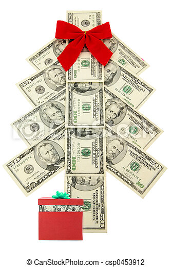 money christmas tree and gift csp0453912