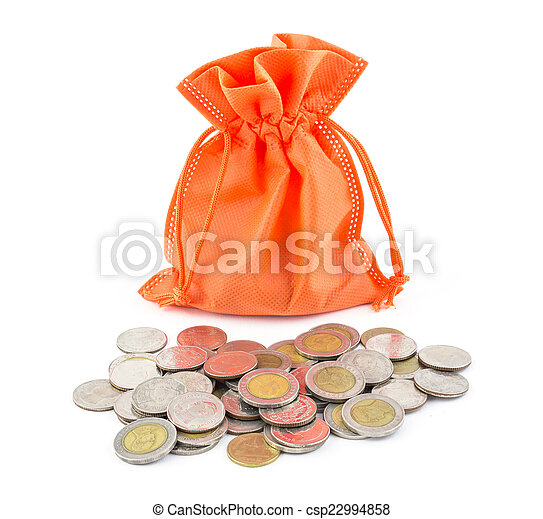 money coin and paper bag isolated on white background - csp22994858