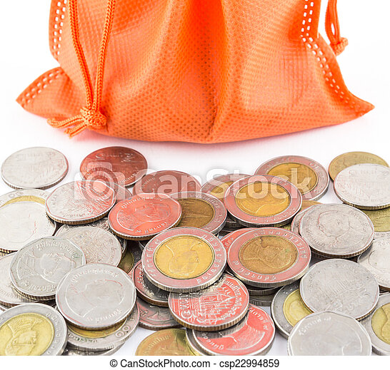 money coin and paper bag isolated on white background - csp22994859