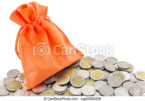 money coin and paper bag isolated on white background - csp23000326