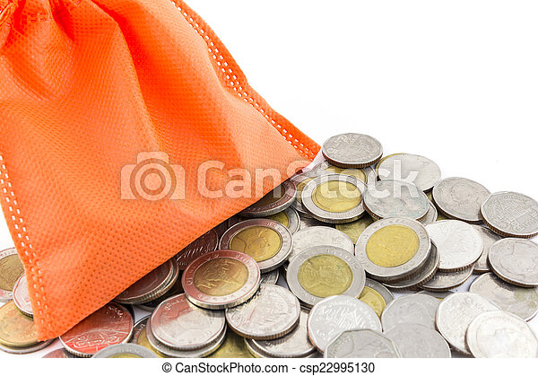 money coin and paper bag isolated on white background - csp22995130