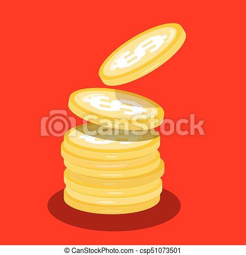 Money Coins Heap. Vector Flat Design Cartoon. - csp51073501