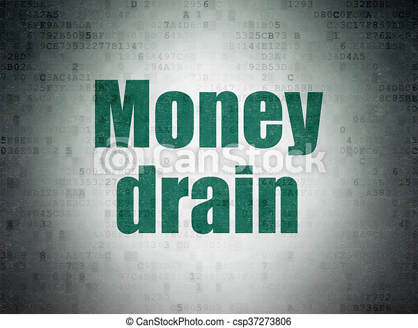 Money concept: Money Drain on Digital Data Paper background - csp37273806