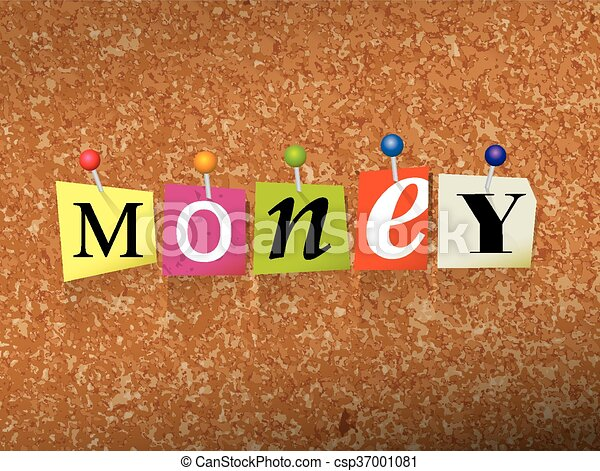 Money Concept Pinned Letters Illustration - csp37001081
