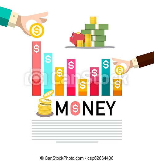 Money Concept with Graph. Business Infographic. Vector Infographics with Dollar Coins. - csp62664406