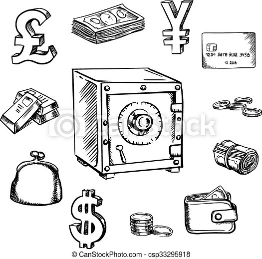 Money Currency And Finance Sketch Icons With Safe Surrounded By