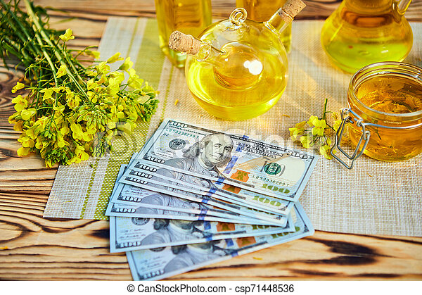 Money Dollar banknote with blossoming cultivated canola field and rapeseed oil in background - csp71448536