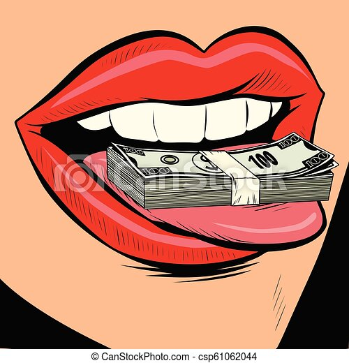 Money Dollars Female Tongue Mouth Comic Cartoon Pop Art Retro Vector Illustration Drawing