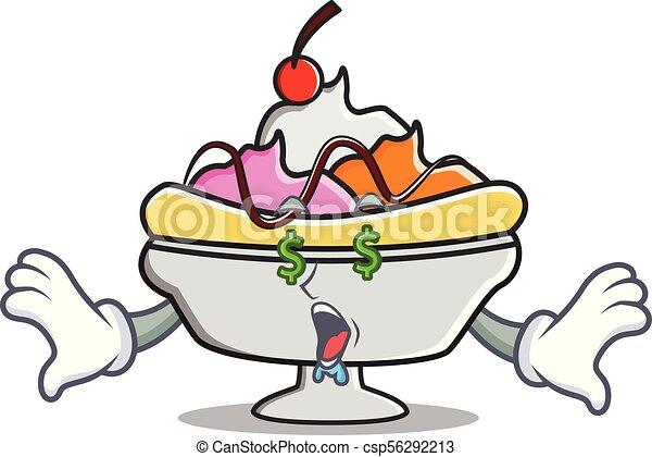 money eye banana split mascot cartoon vector illustration rh canstockphoto com banana split clipart
