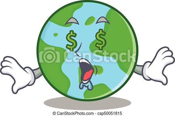 Money Eye World Globe Character Cartoon Vector Illustration