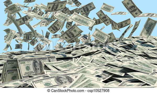 Money falling from the sky in a heap - csp10527908
