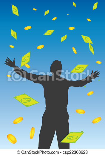 Money Falling From the Sky Vector Illustration - csp22308623
