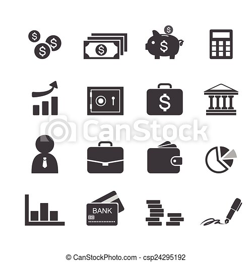 Money, finance, banking icons - csp24295192