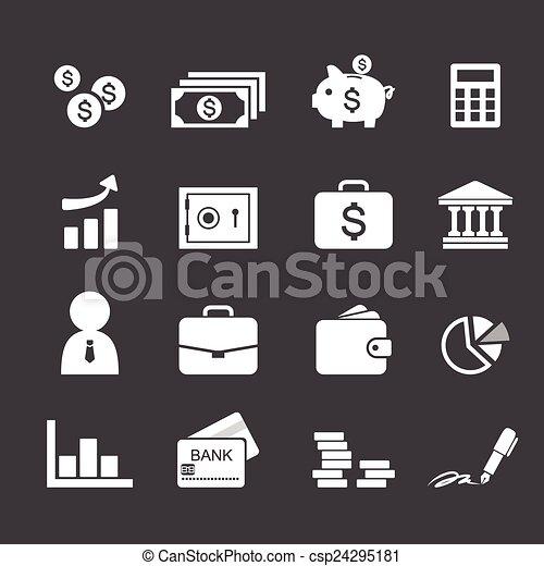 Money, finance, banking icons - csp24295181