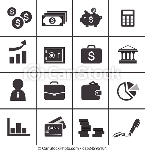 Money, finance, banking icons - csp24295184