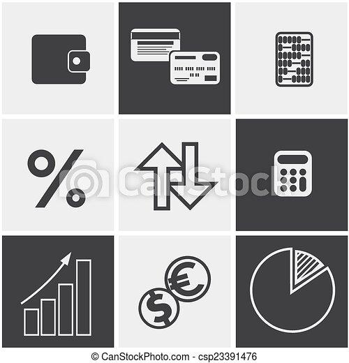 Money, finance, banking icons set - csp23391476