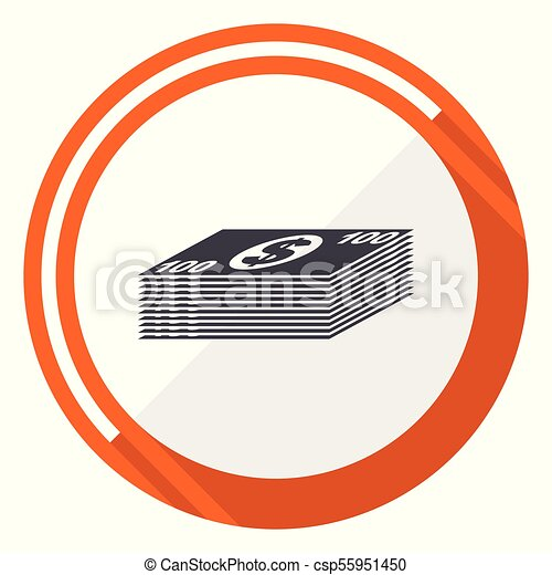 Money flat design vector web icon. Round orange internet button isolated on white background. - csp55951450