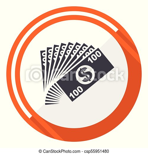Money flat design vector web icon. Round orange internet button isolated on white background. - csp55951480