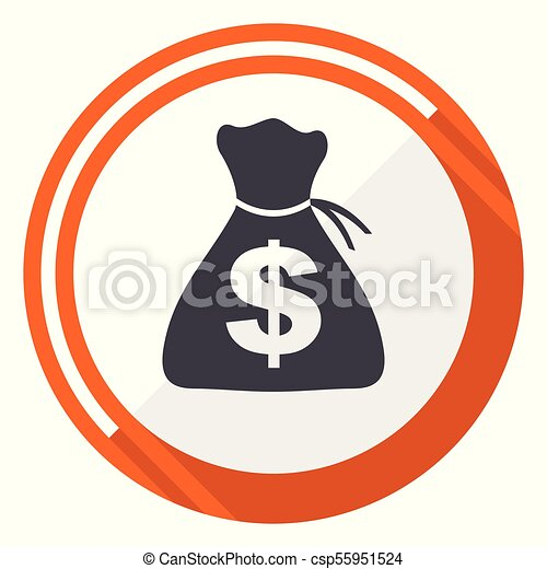 Money flat design vector web icon. Round orange internet button isolated on white background. - csp55951524