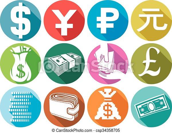 money flat icons set  - csp34358705