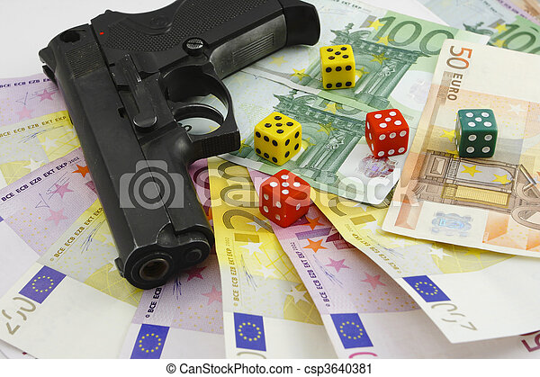 money gun and dice on the white bac - csp3640381