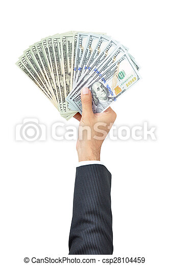 Money - hand holding banknotes - United States Dollars or USD - isolated on white - csp28104459
