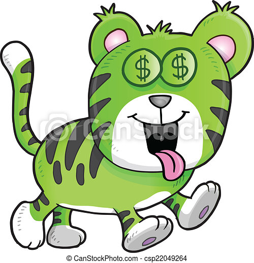 Money Hungry Tiger Vector  - csp22049264