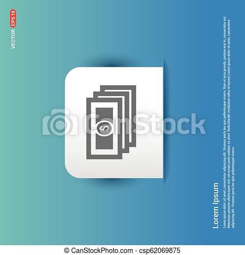 money icon - Blue Sticker button - csp62069875