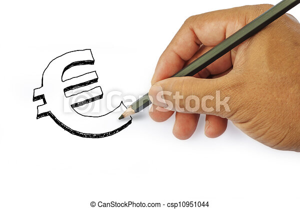 Money icon by hand drawing on white back ground - csp10951044