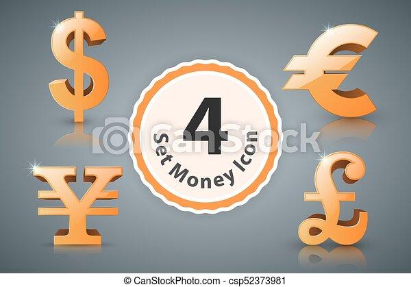 Money Icon Dollar Euro British Pound Yen Money Icon Dollar Euro