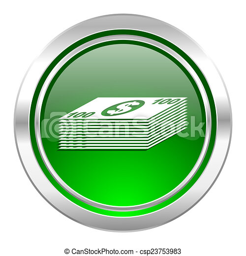 money icon, green button, cash symbol - csp23753983