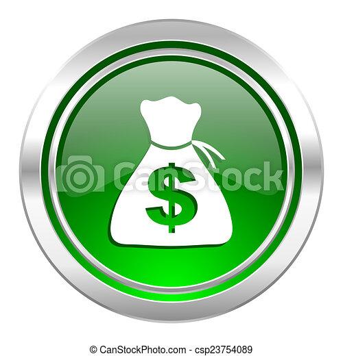 money icon, green button - csp23754089