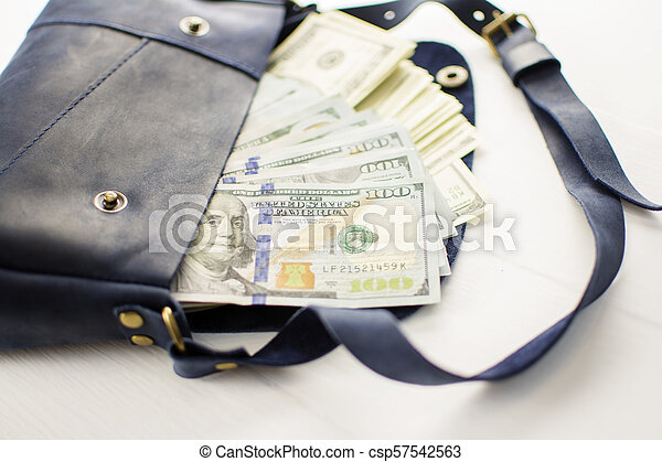 money in bag on white background. - csp57542563