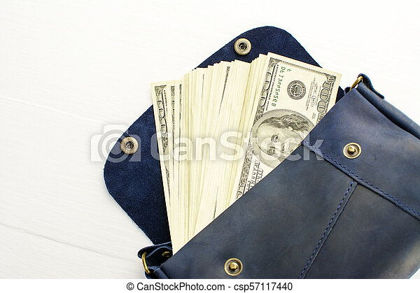 money in bag on white background. - csp57117440