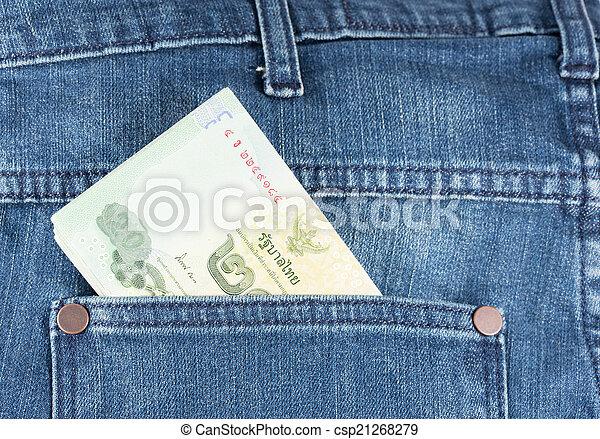 Money in blue jeans pocket - csp21268279